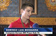 El alcalde recibe a Domingo Luis Mosquera, campeón de Europa de Balonmano Playa sub-16 con la selección española