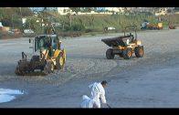 Continúan los trabajos de limpieza en la playa del Rinconcillo para retirar el vertido