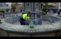 El alcalde supervisa el comienzo de los trabajos de rehabilitación ornamental de la Plaza Alta