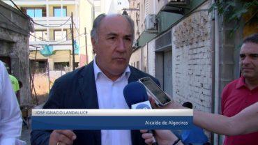 José Ignacio Landaluce visita la calle Saenz de Laguna para comprobar el tramo final de las obras