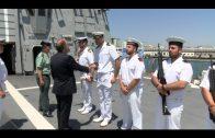 Landaluce recibe a los comandantes de los buques de la Armada Española «Patiño» y «Álvaro de Bazán»