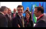 El presidente nacional del PP, Pablo Casado, visita el Stand del Campo de Gibraltar en Fitur