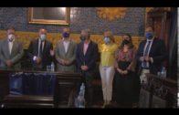 Landaluce recibe a los alcaldes jienenses de Linares, Guarromán y Bailen en la Casa Consistorial