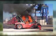 Arde una grúa en la terminal de contenedores de TTIA